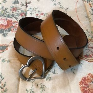 Light Brown Genuine Leather Belt Heart Buckle 2x